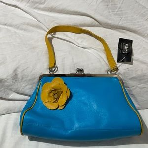 Wilson leather all leather handbag turquoise yellow accents NWT vintage